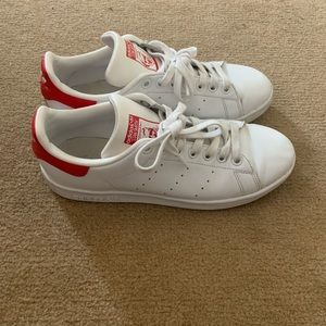 Red and White Stan Smith adidas sneakers